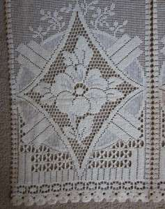 art Vintage SCOTTISH Cotton LACE CURTAIN PANEL 35 FOR WINDOW Clarice
