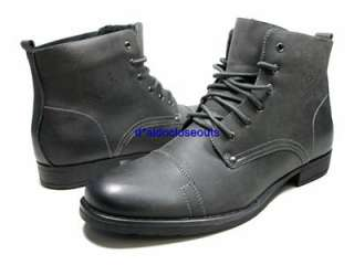 Mens Gray Military Combat Style Calf High Lace Up Boots Polar Fox by D