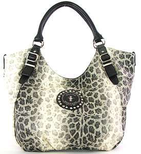 FORD MUSTANG Purse  BEIGE Shimmery Leopard Animal Print Shoulderbag