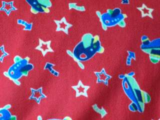 AIRPLANE FLY AIRPLANES STARS WINTER FLEECE FABRIC