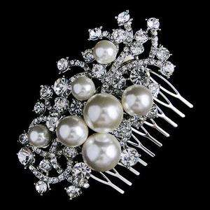 Faux Pearl Flower Hair Comb Tiara Swarovski Crystal Bridal Floral