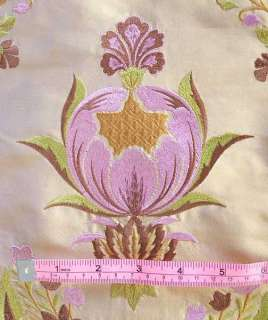 Embroidered, Shot Silk Fabric. Iridescent, Gold with Rose Pink Flowers