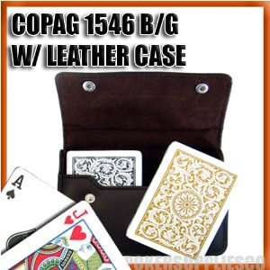 Copag Plastic Cards Leather Case Set 1546 Black/Gold Poker