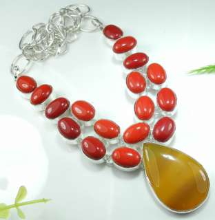 HUGE YELLOW AGATE+RED CORAL SILVER NECKLACE 19; S2632