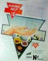 1945 Conoco Nth Motor Car Oil Big Red Triangle Sign AD