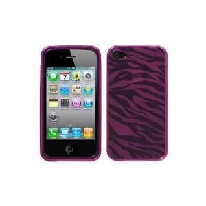 iPhone 4 Flexible TPU Skin Case   Hot Pink Zebra Cell