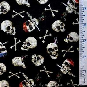 Elizabeths Studio Pirate Skull Cross Bones BLACK Quilt Fabric HALF (1