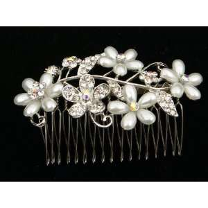 Clear Crystal Flowers With Faux Pearl Metal Hair Comb