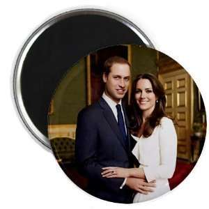 Clam Prince William Kate Middleton Royal Engagement 2.25 Fridge Magnet