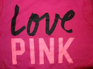 Victoria Secret PINK Zip Up Love Script Funnel Neck Hoodie S M L