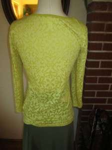 Sunny Yellow and White Lace Trimmed Sheer Scoop Neck Top M