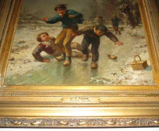 James Crawford Thom Winter Snow Scene Oil Painting