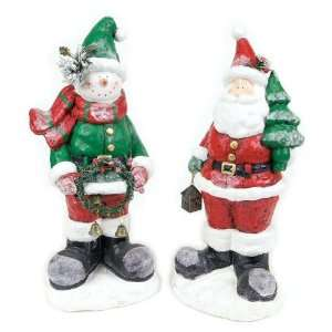 Snowman and Santa Paper Mache Sculpture, Set of 2