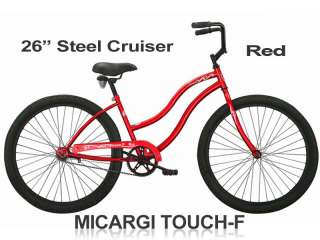 Touch F Ladies 26 Steel Frame Beach Cruiser Bicycle   Red