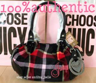 couture red plaid w/heart charm baby fluffy satchel bag purse