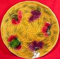 VINTAGE MAJOLICA SARREGUEMINES SHALLOW FRUIT BOWL