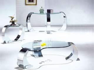 NEW MODERN 3PC CHROME METAL GLASS COFFEE END TABLE SET