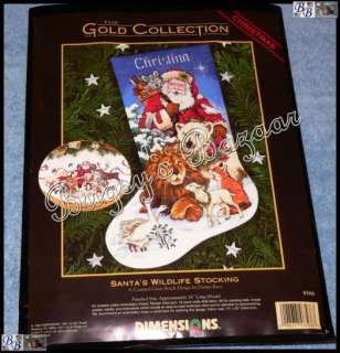 Dimensions Gold SANTA'S WILDLIFE STOCKING Christmas Counted Cross