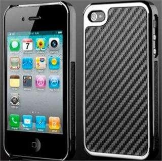 Carbon Fiber Chrome Hard Case Cover Skin for All Apple iPhone 4 4G 4S