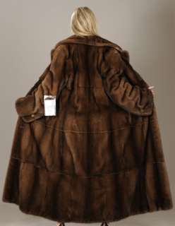 New Full length demi buff SAGA mink fur coat full skin