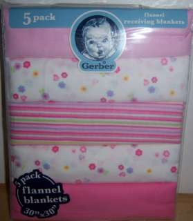 New Gerber Flannel Receiving Blankets, Baby Shower, Good for Diaper