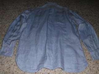 Mens CREMIEUX Blue Linen Shirt Large L NWT NEW