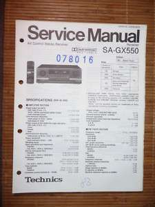 Service Manual Technics SA GX550 Receiver,ORIGINAL