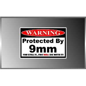 PRO GUN Warning Protected By 9mm GUN Decal Bumper Sticker