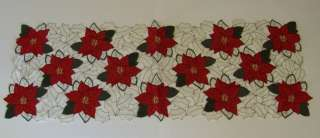 Christmas Holiday Table Runners Poinsettia OR Cardinal 4 Styles Upick