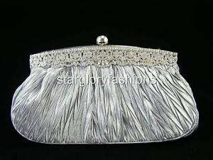 Silver Satin ROYAL CRYSTAL FRAME Wedding Purse Clutch