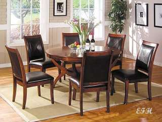 NEW 7PC NIKKA BROWN CHERRY WOOD ROUND DINING TABLE SET