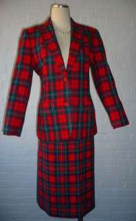 PENDLETON*VTG*RED TARTAN PLAID*WOOL*HOLIDAY*CHRISTMAS*SKIRT SUIT*8*10