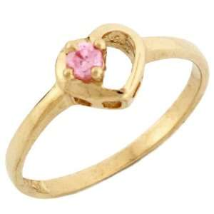 10k Yellow Gold October Birthstone Pink CZ Heart Baby Ring
