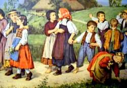 OLD SUNDAY SCHOOL WALK COLORFUL CHILDREN FRAMED PRINT