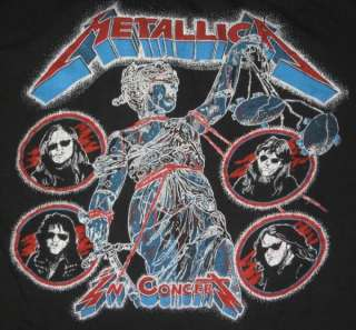 1988 METALLICA VTG DAMAGED JUSTICE TOUR T SHIRT CONCERT