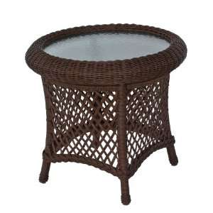 Round Wicker End Table Savannah Collection Patio, Lawn