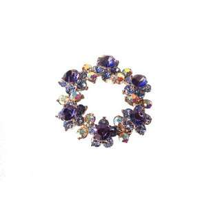 Blue Wreath Pin 24K Gold Swarovski Crystals Brooch Flowered Roun