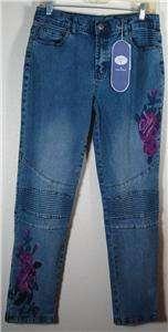 DG2 Diane Gilman Stretch Denim Moto Jeans, Indigo, Sz 6/8 NEW