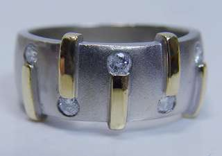 Estate Eisa 14K White Gold Diamond Mens Band Ring Estate Jewelry