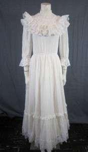 Vtg 70s White Prairie Renaissance Wedding Eyelet Lace Tier Dress Gunne