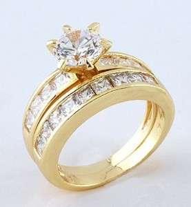 9KT 9CT GOLD GF ENGAGEMENT WEDDING SET ring SZ 6 RR18
