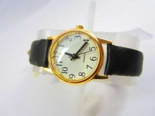 WOMENS WATCH GOLDEN BLACK STRAP EASSY READ NUMBERS