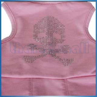 Pink Hoodie Dog Pet Puppy Dress Clothes Coat Skull New