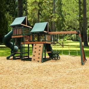 Kidwise Green Monkey Play Set III Wood Swing Set: Toys & Games