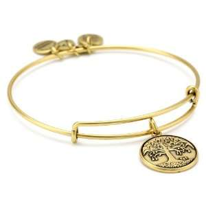 Alex and Ani Bangle Bar Tree Of Life Expandable Wire in Russian Gold