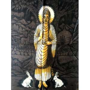 Lord Buddha Indian God Cotton Fabric Yoga Tapestry Batik Painting Wall