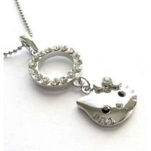 Cute Kitty Clear Crystal Circle Necklace Pendant