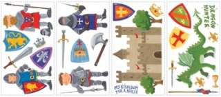 24 New DRAGON HUNTER WALL DECALS Knights & Dragons Stickers Boys Room