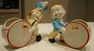 FAB VTG KITSCHY 1950s SET DRUMMER & MAJORETTE PLANTERS
