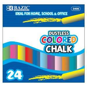Bazic Dustless Chalk, Assorted Colors, 24 per Box (Case of